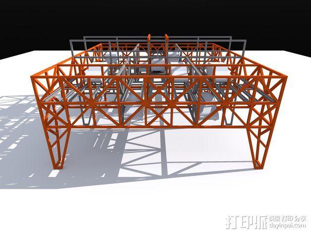 车间构架模型 3D模型  图2