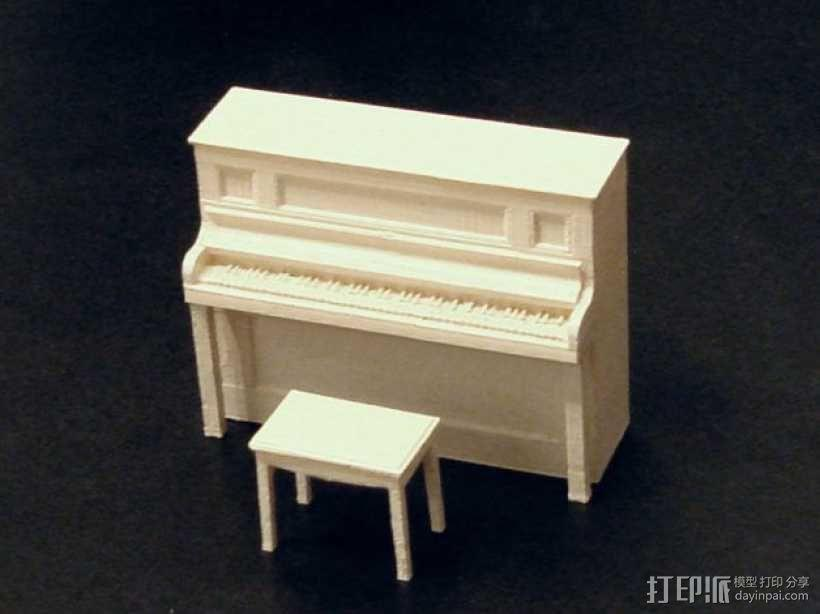 钢琴和凳子 3D模型  图1