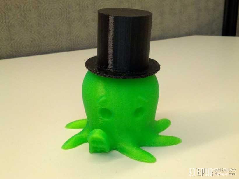 戴礼帽的章鱼 3D模型  图1