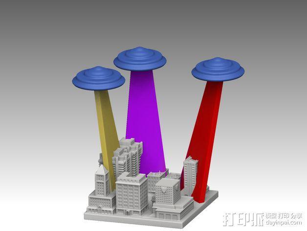 城市上空的UFO 3D模型  图2
