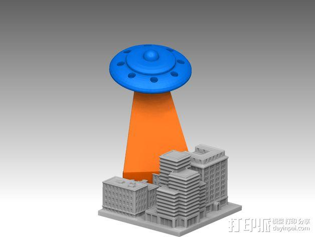 城市上空的UFO 3D模型  图3