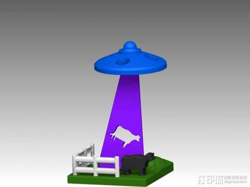城市上空的UFO 3D模型  图1