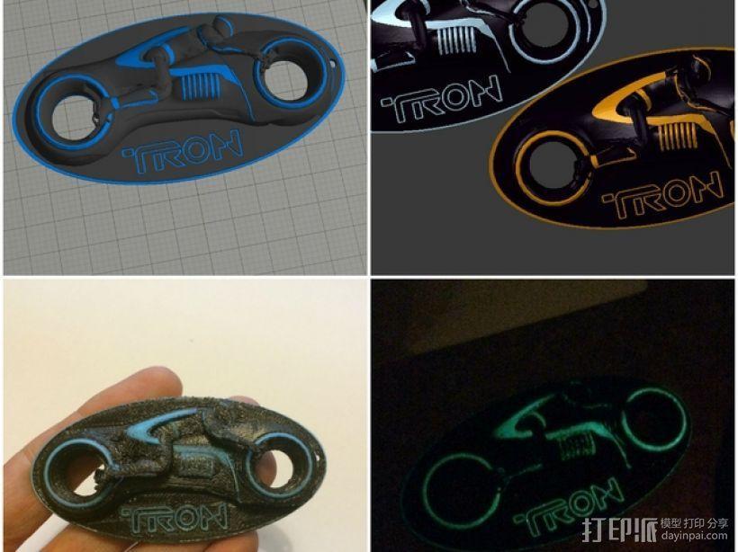 炫光摩托车钥匙扣 3D模型  图1