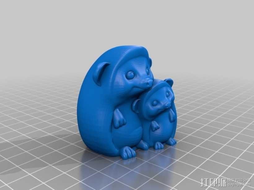 依偎的刺猬 3D模型  图2
