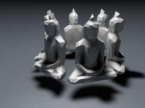 低面数菩萨雕塑 3D模型