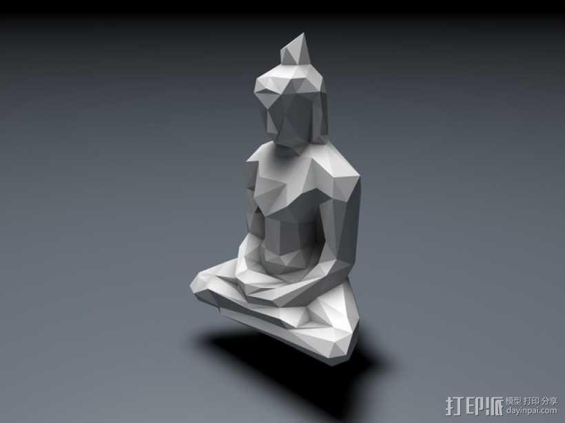 低面数菩萨雕塑 3D模型  图3