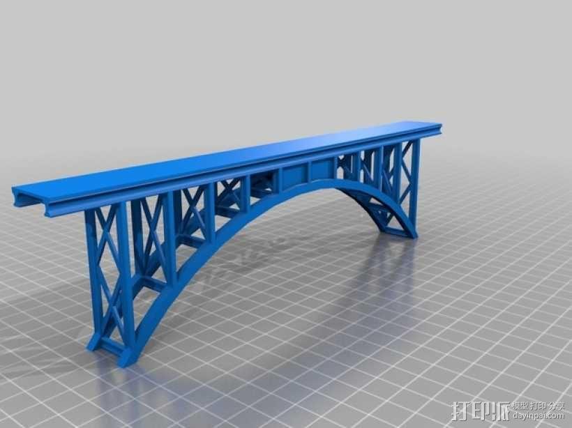桁拱桥 火车道 3D模型  图1