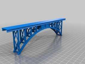 桁拱桥 火车道 3D模型