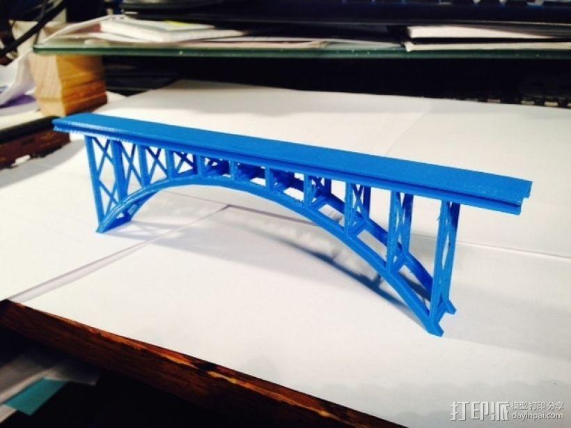 桁拱桥 火车道 3D模型  图2
