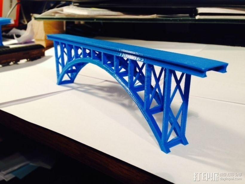 桁拱桥 火车道 3D模型  图4