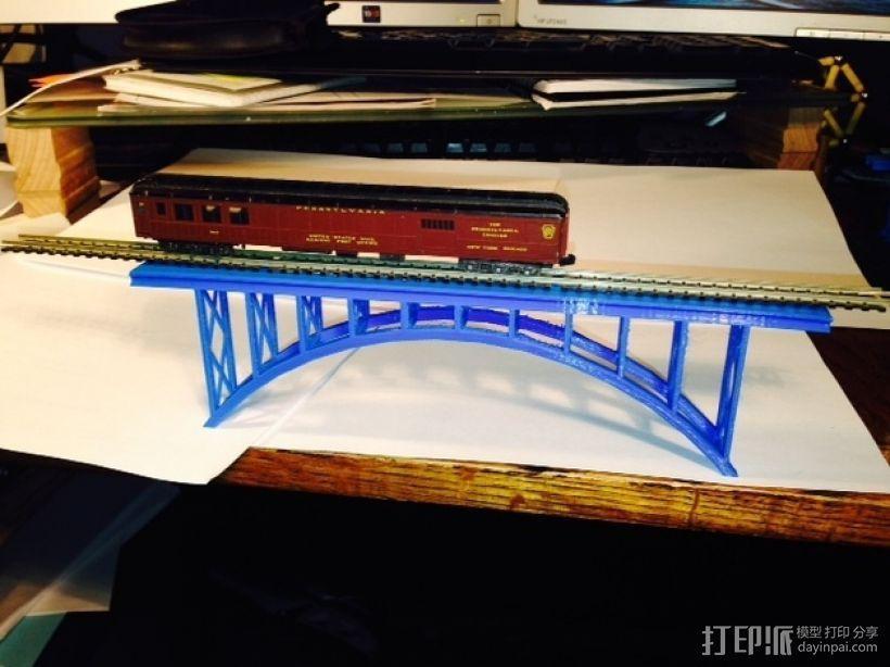 桁拱桥 火车道 3D模型  图3