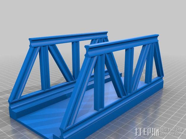 桁架桥 火车轨道 3D模型  图2