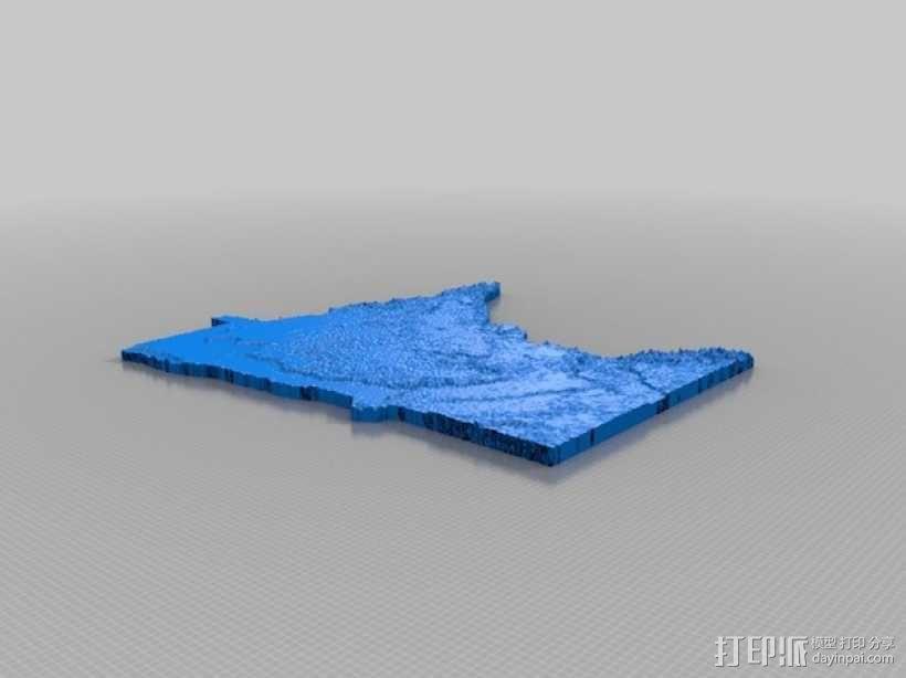 明尼苏达州地形图 3D模型  图1