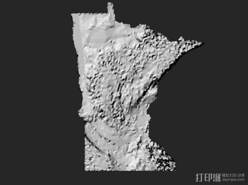 明尼苏达州地形图 3D模型  图3