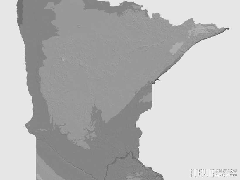 明尼苏达州地形图 3D模型  图6