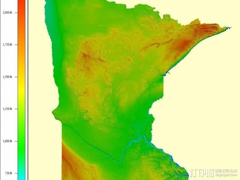 明尼苏达州地形图 3D模型  图5