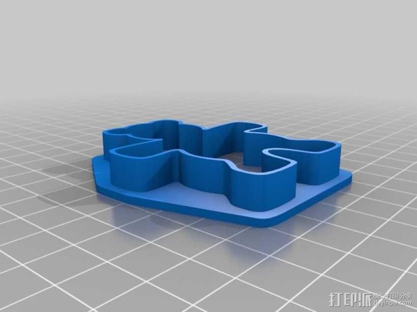 泰迪熊饼干切割刀 3D模型  图1