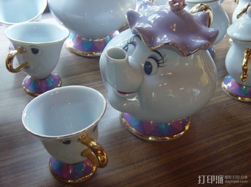 茶壶太太和杯子 3D模型  图1
