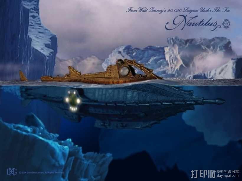 鹦鹉螺号潜艇模型 3D模型  图2