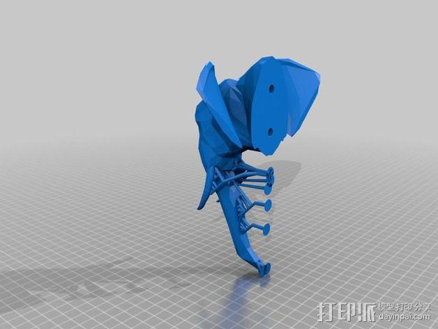 几何低面数大象头模型 3D模型  图4
