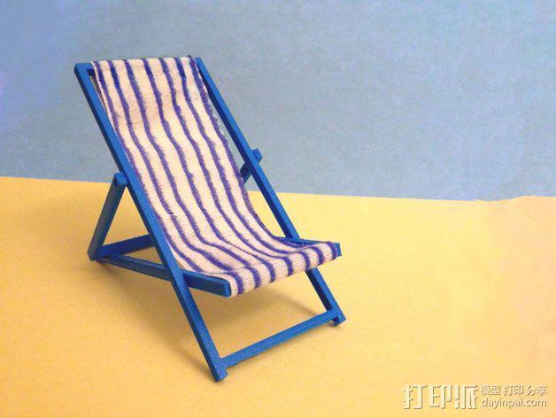 折叠躺椅 3D模型  图1
