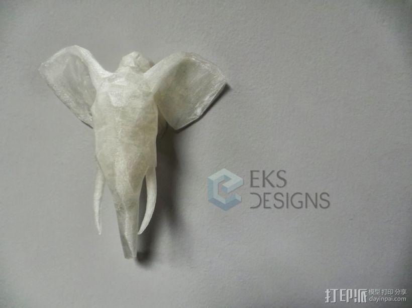 几何低面数大象头部模型 3D模型  图1