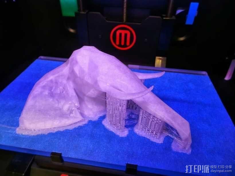 几何低面数大象头部模型 3D模型  图4