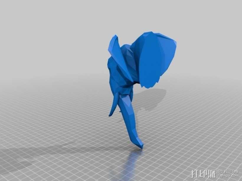 几何低面数大象头部模型 3D模型  图7