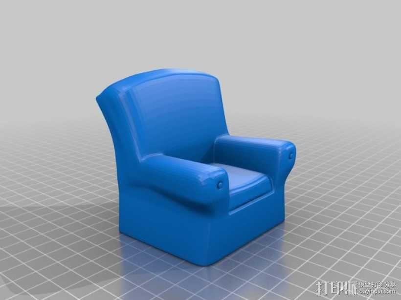 单人沙发 3D模型  图1
