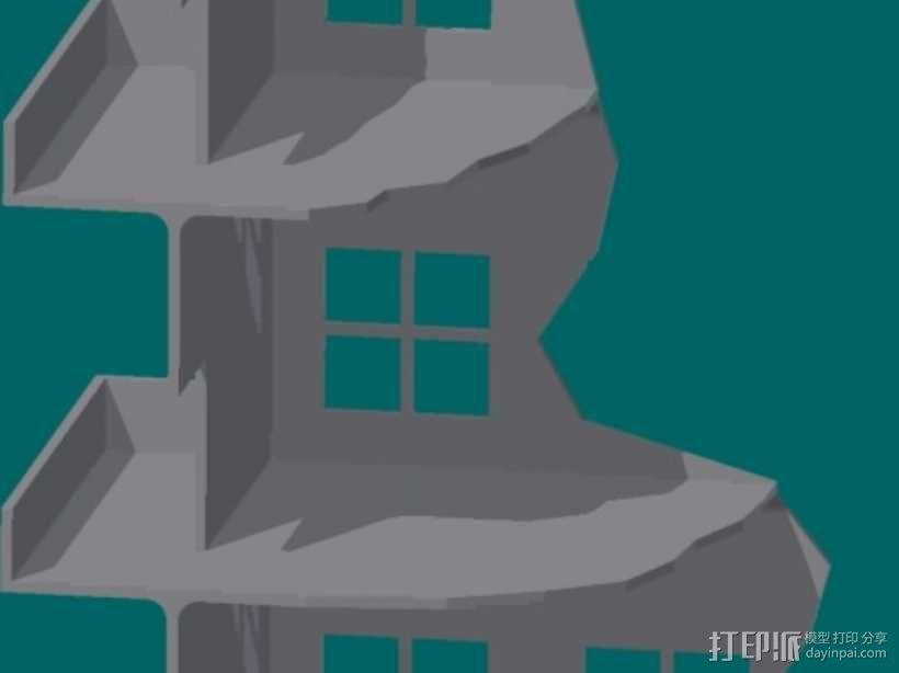 双层楼废墟模型 3D模型  图1