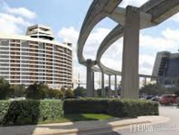 迪士尼当代酒店和湾胡塔 3D模型  图2