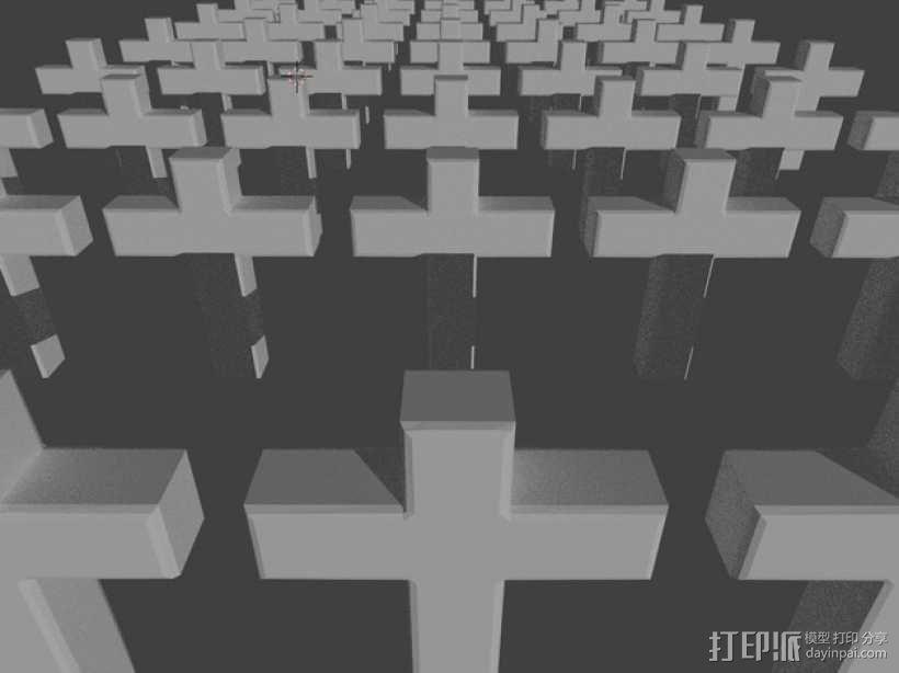 墓地十字架 3D模型  图1