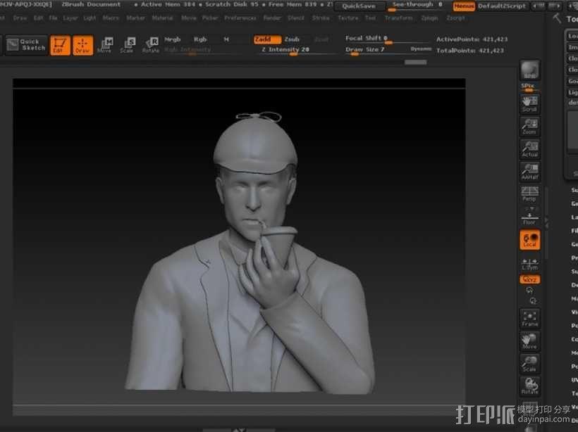 夏洛克福尔摩斯半身像 3D模型  图4