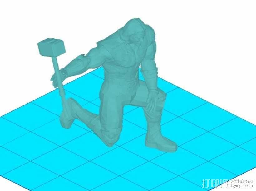 雷神和雷神之锤 3D模型  图1