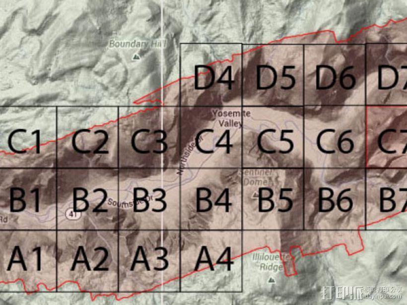 约瑟米蒂国家公园地形模型 3D模型  图4