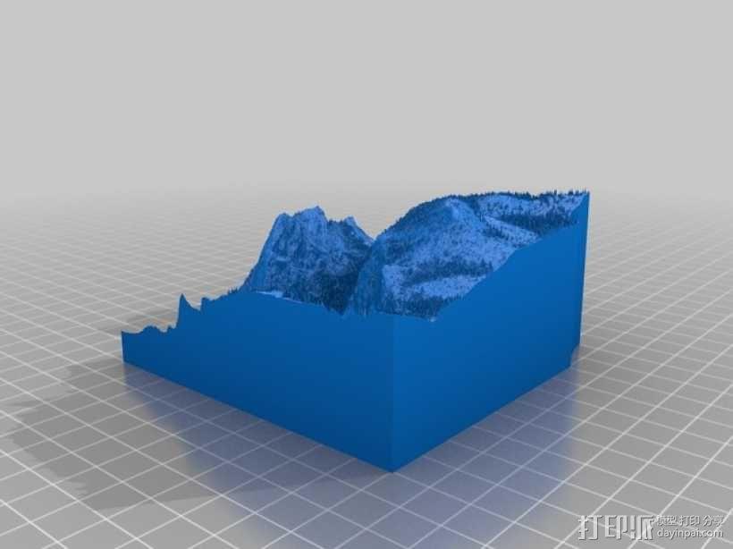 约瑟米蒂国家公园地形模型 3D模型  图11