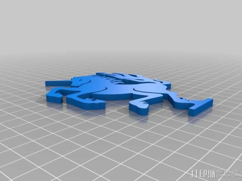 独角兽标志 3D模型  图4