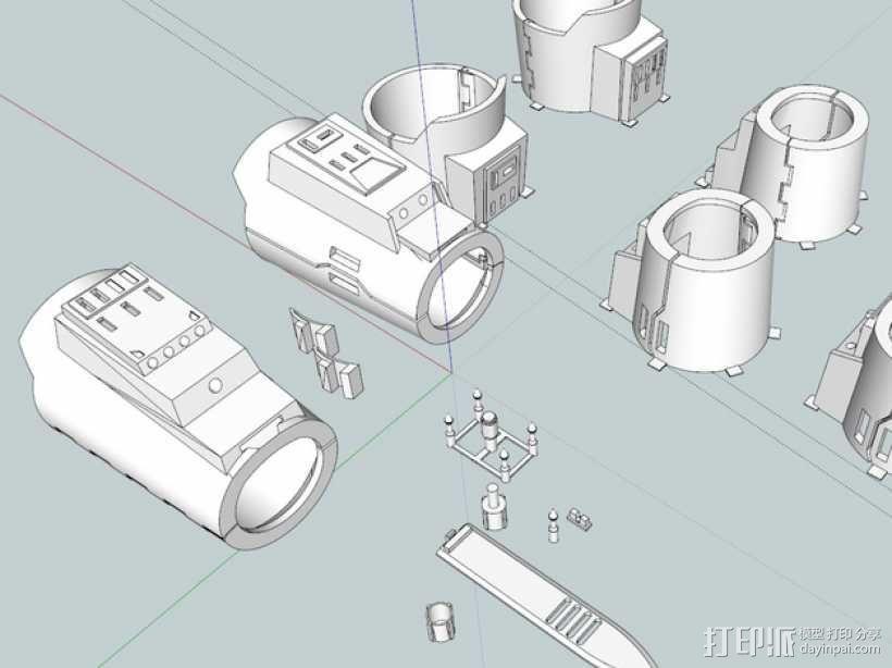 星球大战 曼达洛人的护臂盔甲 3D模型  图2