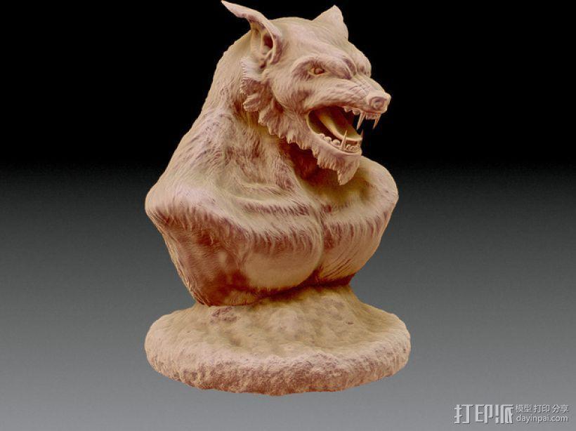 狼人 半身像 3D模型  图2