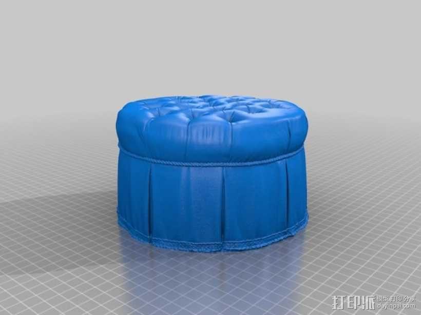 圆形沙发凳 3D模型  图1
