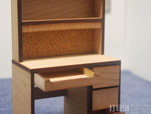 宿舍的桌子和柜子 3D模型  图2