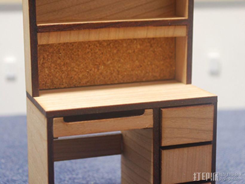 宿舍的桌子和柜子 3D模型  图1