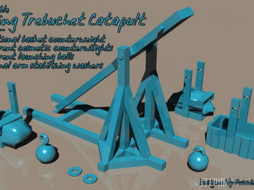 弹弓抛石机 3D模型  图1