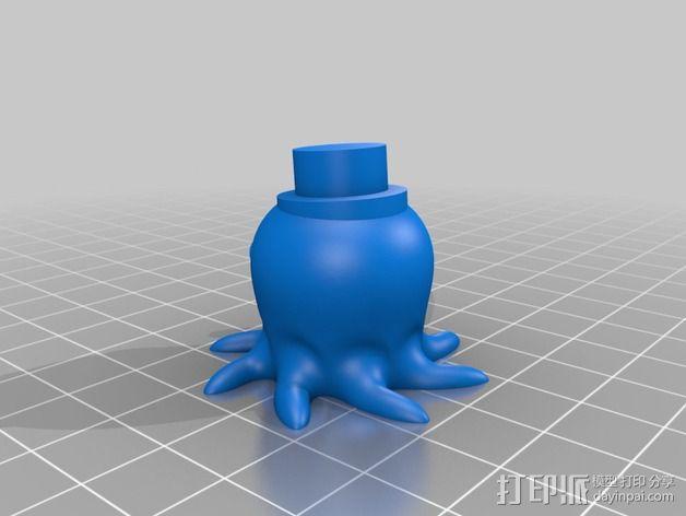 戴礼帽的章鱼 3D模型  图3