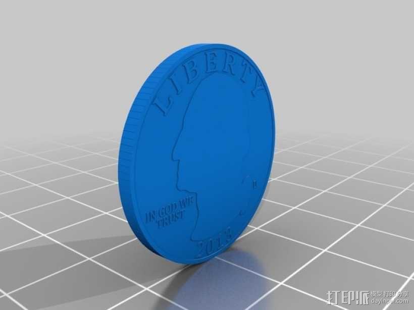 四分之一美分硬币 3D模型  图2