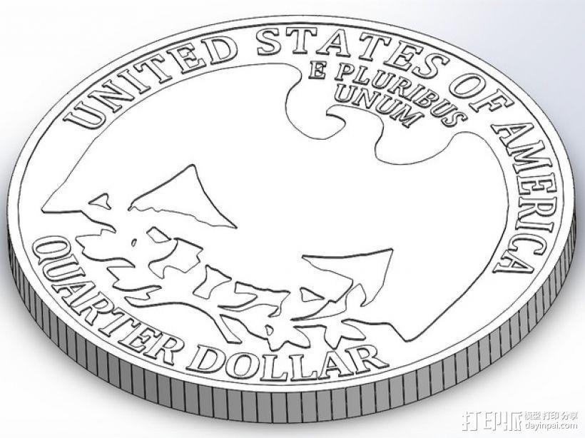 四分之一美分硬币 3D模型  图1