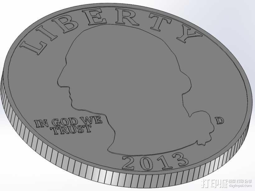 四分之一美分硬币 3D模型  图3