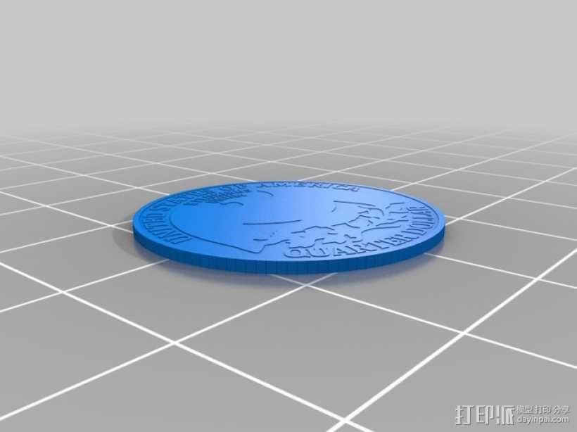 四分之一美分硬币 3D模型  图5
