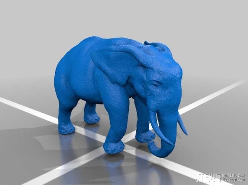 拉车的大象 3D模型  图1