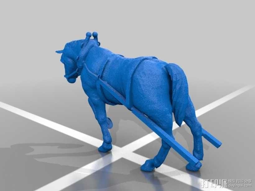 耕地的马 3D模型  图1
